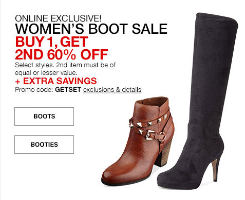 4665de7c956348 Boots at Macy s  Buy One Get One 60% Off Plus an Extra 15% Off!