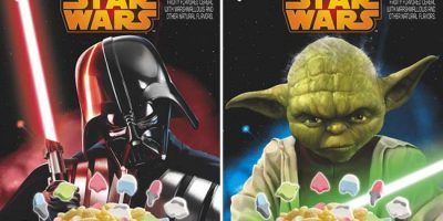 Similar to its existing Lucky Charms cereal, the new Star Wars cereal will feature marshmallow bits in six themed shapes, including a Storm Trooper, Yoda and a pair of light sabers. (Courtesy of General Mills)