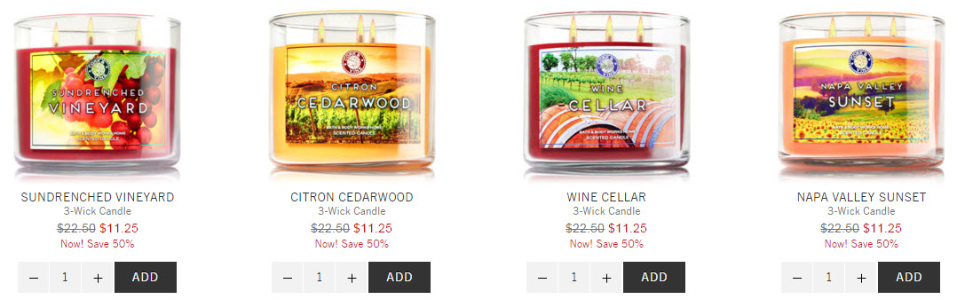 wine three wick candle