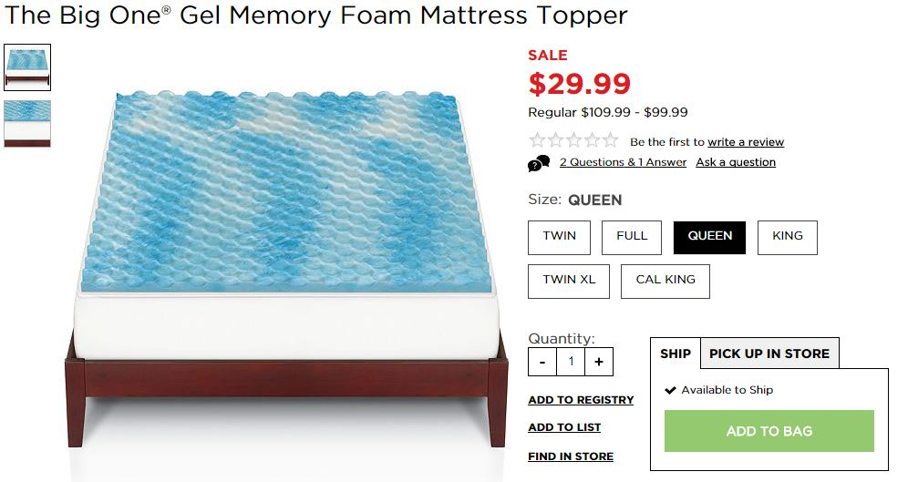 kohls memory foam topper Kohl's: The Big One® Gel Memory Foam Mattress Topper $22.49 (Reg  kohls memory foam topper