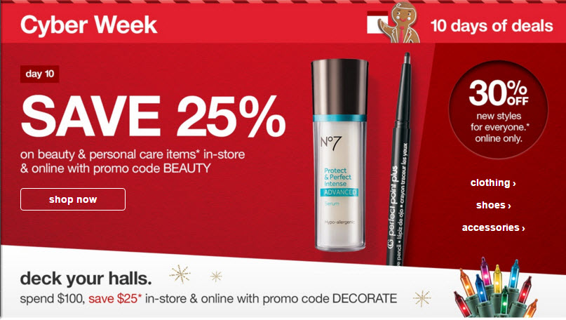 target 25 off beauty