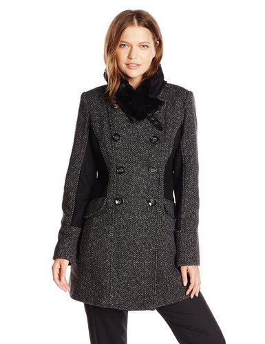 Jessica Simpson Women's Double Breasted Wool Coat with Faur Fur Collar