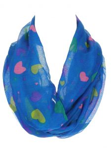 Women's Multi Color Heart Print Thin and Soft Infinity Scarf