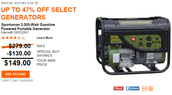 home depot up to 47 off generators today only starting at 149. Black Bedroom Furniture Sets. Home Design Ideas