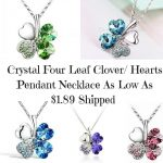 Crystal Four Leaf Clover- Hearts Pendant Necklace As Low As $1.89 Shipped