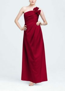 One Shoulder Satin Ball Gown with Fan Detail Style F14430