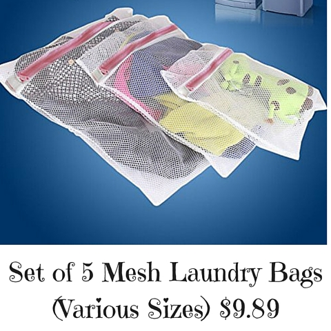 Set of 5 Mesh Laundry Bags (Various Sizes) $9.89