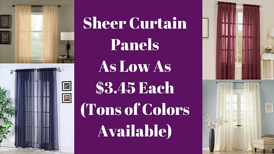 Sheer Curtain Panels As Low As $3.45 Each (Tons of Colors Available)
