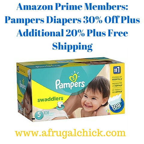 Amazon Prime Members- Pampers Diapers 30% Off Plus Additional 20% Plus Free Shipping