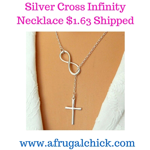 Silver Cross Infinity Necklace $1.63 Shipped