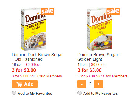 -$/2 Domino Brown or Confectioners Sugar, 03/11 SS (exp 5/31) [1-lb.; Limit 1] 99¢ after coupon. Javascript and Local Storage are required to make a Shopping List.