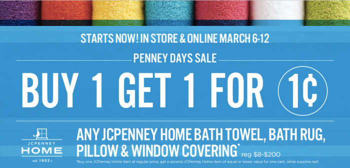 JCPenney: Buy 1 Get 1 For $.01 JCPenney Home Bath Towel, Bath Rug ...