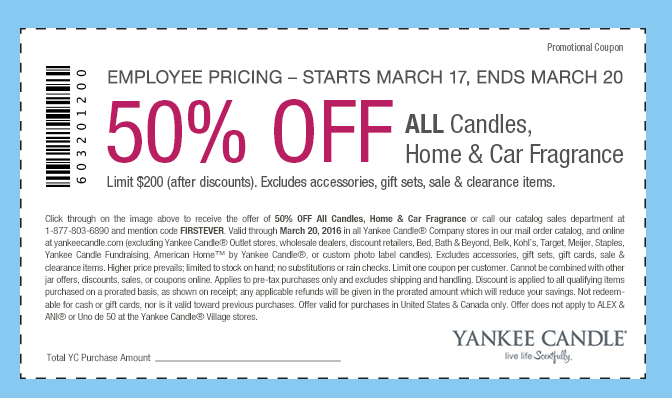 Yankee Candle: 50% off All Candles, Home and Car Fragrance