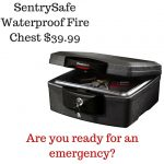 SentrySafe Waterproof Fire Chest $39.99