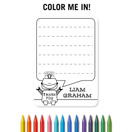 color me in thank you card