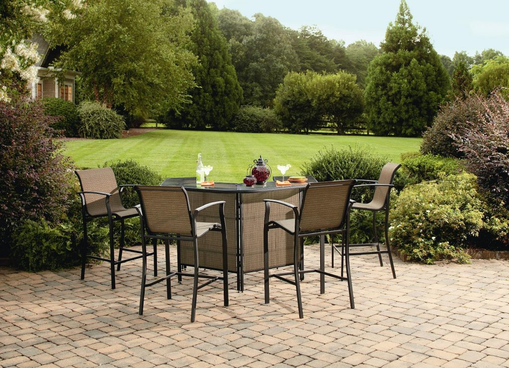 Garden oasis harrison 5 pc patio bar set down to for Outdoor garden set