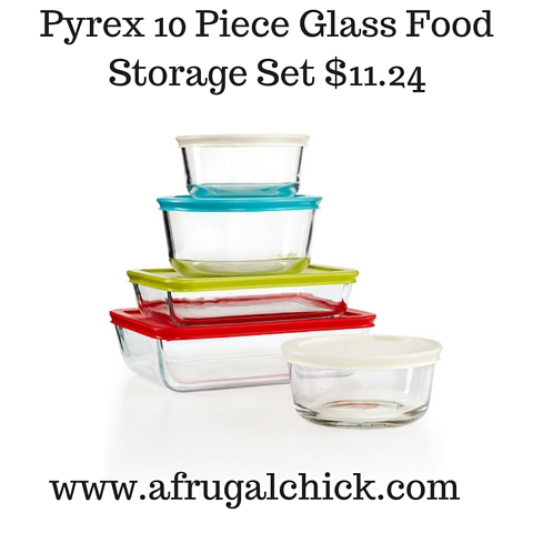 Pyrex 10 Piece Glass Food Storage Set $11.24