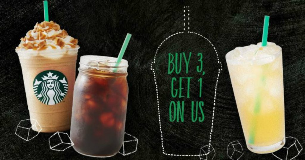 starbucks buy 3 get 1 free