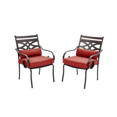 Middletown Patio Stationary Dining Chairs with Dragonfruit Cushions