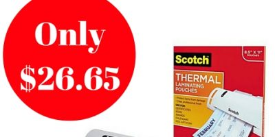 Scotch Thermal Laminator with 100-Pack Laminating Pouches Only $26.65