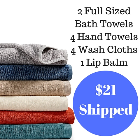 2 Full Sized Bath Towels4 Hand Towels4 Wash Cloths1 Lip Balm