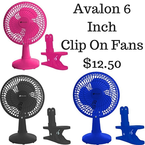 Avalon 6 Inch Clip On Fans $12.50