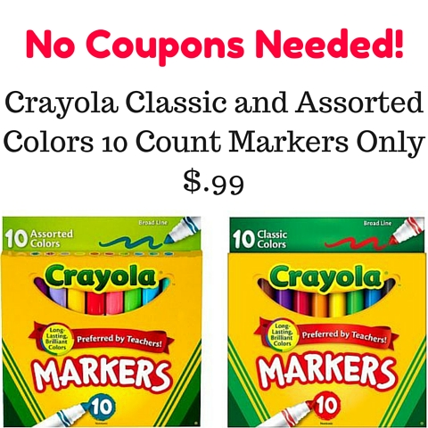 Crayola Classic and Assorted Colors 10 Count Markers Only $.99