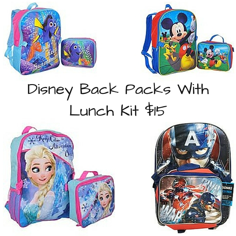 Disney Back Packs With Lunch Kit $15