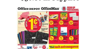 Office Depot%2FMax Back To School Sales- Pay $5.09 for $56.80 in Supplies