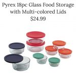 Pyrex 18pc Glass Food Storage with Multi-colored Lids $24.99