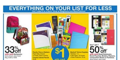 Walgreens- Get 20 School Supplies for $6