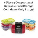 6 Piece 3 Compartment Reusable Food Storage Containers Only $10.99