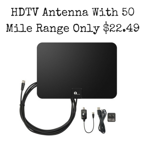 Amazon: HDTV Antenna- 50 Mile Range with Detachable Amplifier & 10 Foot  Cable Only $22.49 (Reg $39.99)