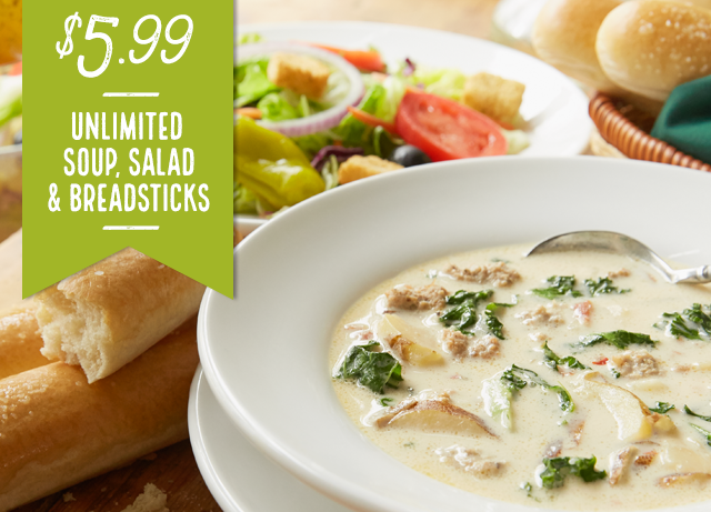 Olive Garden Print Your Coupon For Unlimited Soup Salad And Breadsticks