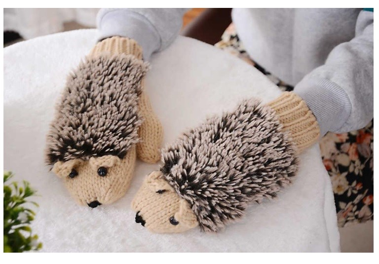 Free Knitting Pattern For Hedgehog Mittens : Stocking Stuffer Alert: Super Cute Hedgehog Mittens USD11.98 Shipped