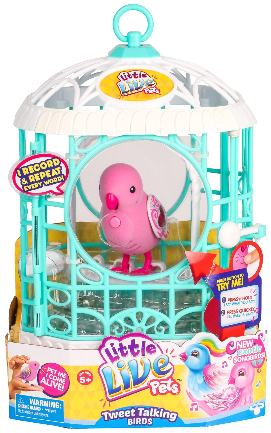 Amazon Little Live Pets Bird With Cage Ruby Bell