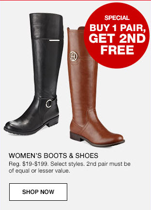 f0b553cab Right now on Macys.com they have select boots and shoes on sale Buy One Get  One Free! Plus today is the last day for FREE shipping on orders of $25 or  ...
