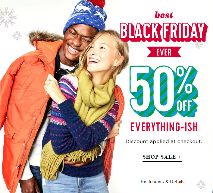 Their Pre-Black Friday deal is from 11/15 to 11/20, where you can get 40% off your entire purchase at Old Navy, both in-store and online! Cardholders will get 50% off. Cardholders will get 50% off. Plus we will see 50% off deals on select categories each day.
