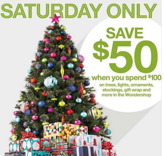 target save 50 when you spend 100 on holiday decorations and gift wrap items