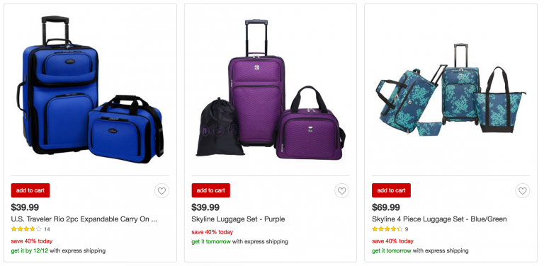 cae30c512 Today only, December 8th, you can save 40% off luggage and travel gear at  Target! There is luggage for adults and children.