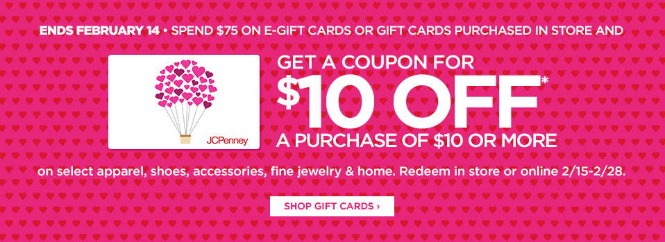 jcpenney gift card deal jcpenney free 10 00 coupon with 75 00 gift card purchase 3609