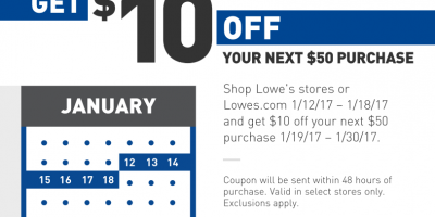 Lowe's: Get $10 Off $50 Coupon with ANY Purchase...