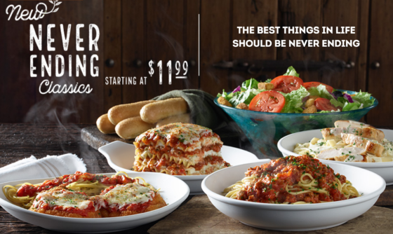 Olive Garden Unlimited Servings Of Classic Entr Es Starting At Just Dine In Only