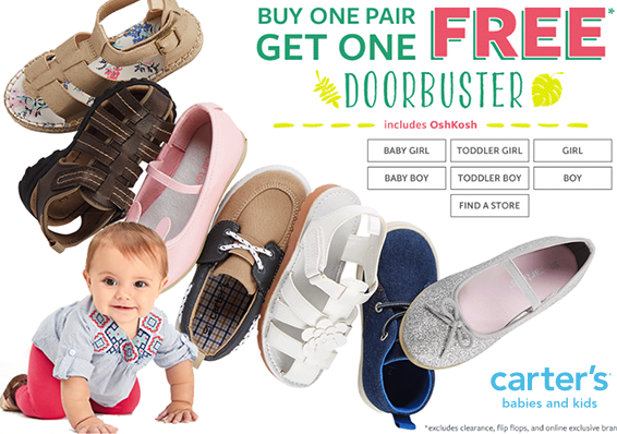 Carter's: Buy 1 Pair of Shoes, Get 1 FREE Today Only - A Frugal Chick