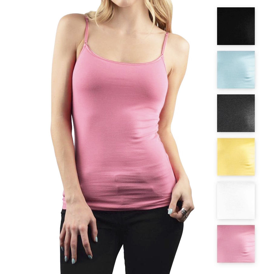 Women S Basic Ambiance Apparel Cotton Tank Top With Adjustable