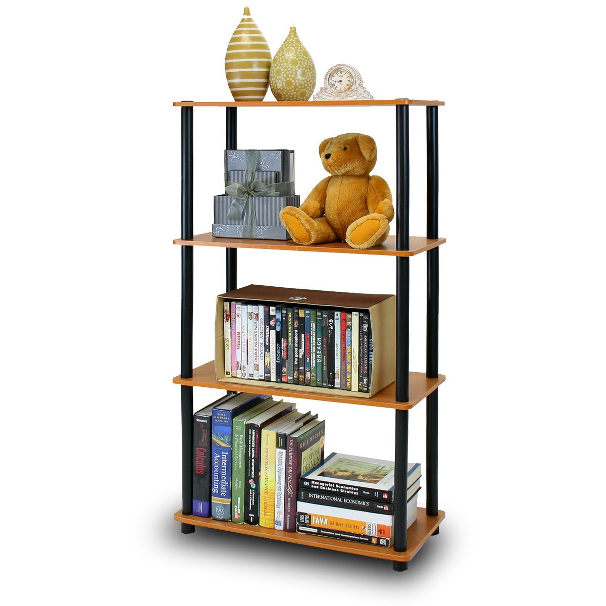 3 layers bookcase wood storage cabinets display shelves book