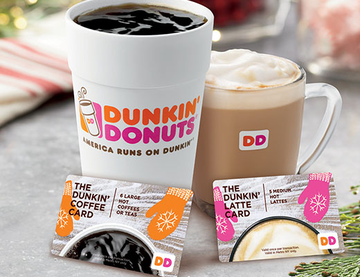 dunkin donuts dunkin holiday coffee or latte card only 10