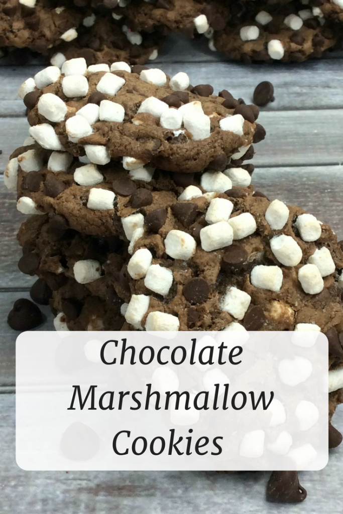 Chocolate Marshmallow Cookies Recipe- With a name like Chocolate Marshmallow Cookies HOW could they possibly be bad? Only ten minutes in the oven!