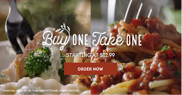 Buy One Entree Take One Entree Home Free At Olive Garden
