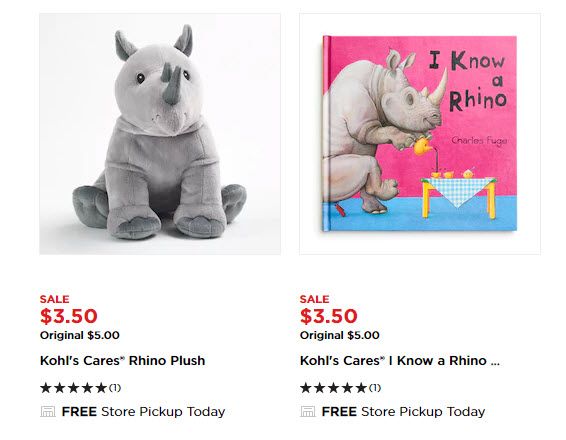 Kohl S Cares Rhino Plush Animals And Books Only 3 50 Each